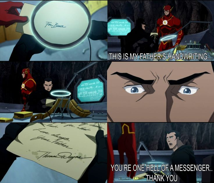 """""""This is my father's handwriting..."""" """"You're one hell of a messenger..Thank you."""" Bruce Wayne to Barry Allen in Justice League: The Flashpoint Paradox"""