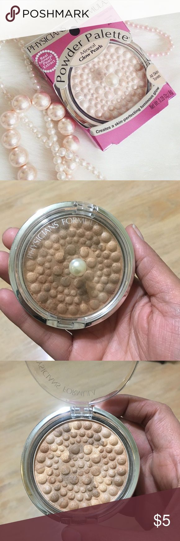 🎀🦄Physicians Formula highlighter-BEIGE PEARL🦄🎀 Physicians formula powder palette mineral glow pearls... very lightly used... unfortunately it didn't work for me... all makeup will be sanitized before shipping... smoke-free, pet-free house... feel free to ask me anything🤗... thank you for checking my closet ladies🌺 Physicians Formula Makeup Luminizer