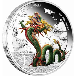 Dragons of Legend – Chinese Dragon 2012 1oz Silver Proof Coin - Perth Mint Australia Silver