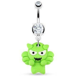 Navlepiercing med Grønt Monster 46 kr