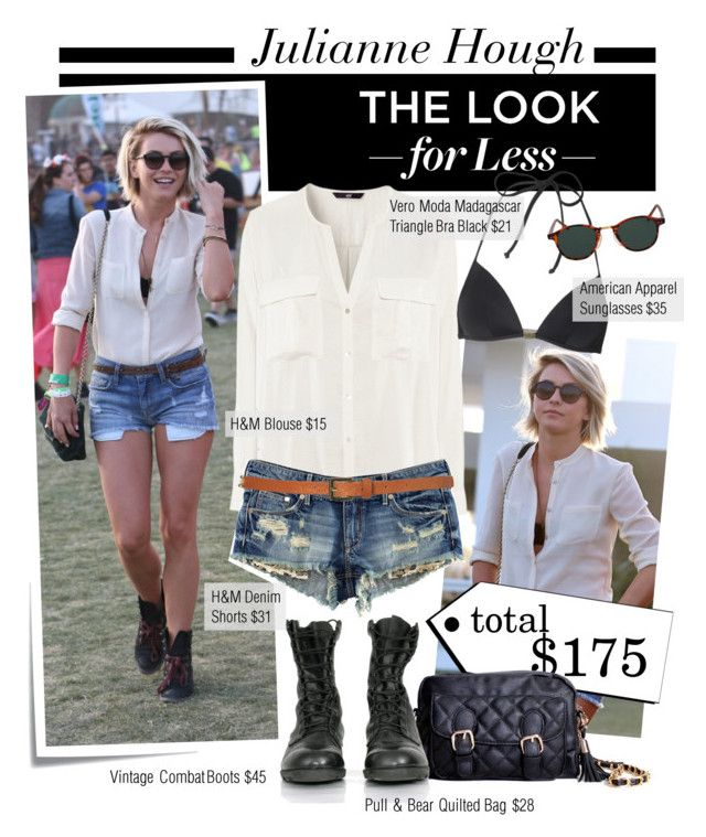 """Get the Look for Less: Julianne Hough at Coachella"" by houseofhauteness ❤ liked on Polyvore featuring Post-It, JULIANNE, H&M, Vero Moda, Topshop, Pull&Bear, American Apparel, combat boots, quilted handbags and denim cutoffs"