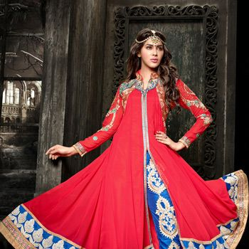#Red #Anarkali Kameez with Straight Pant