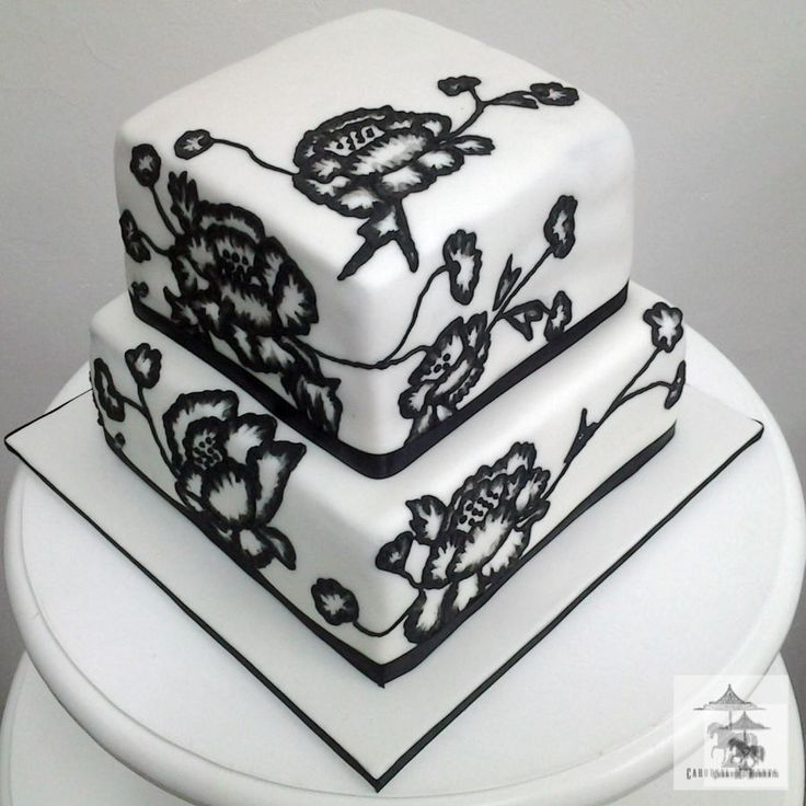 how to icing a wedding cake with fondant brush embroidery in black amp white of peony flowers on 15760