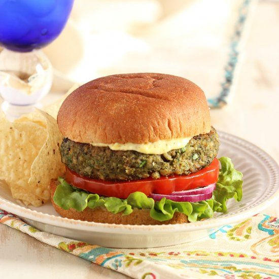 with nutrients, this Farro Burger is healthy and filling. Mushrooms ...