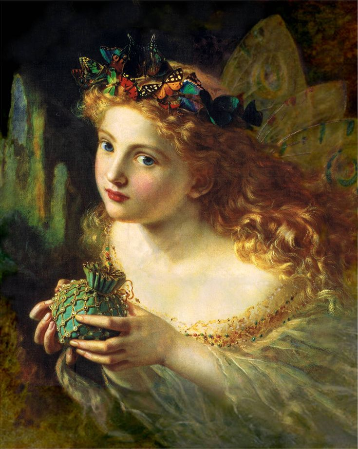 A portrait of a fairy, by Sophie Gengembre Anderson (1869). The title of the painting is Take the Fair Face of Woman, and Gently Suspending, ...
