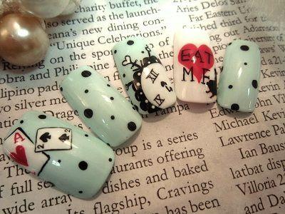 Alice in Wonderland theme  nails:
