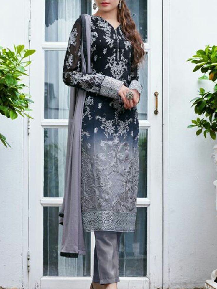 Lighten up the festive mood in this Faux Georgette, straight style suit in Shades of Black and Grey.  The bodice is accentuated with Zari and Floral motif. - See more at: http://www.akalors.in/New-Arrivals/Elegant-Black-Shade-Georgette-Color-Salwar-Kameez-with-Embroidered-Work-id-1889111.html#sthash.xwP41v3W.dpuf