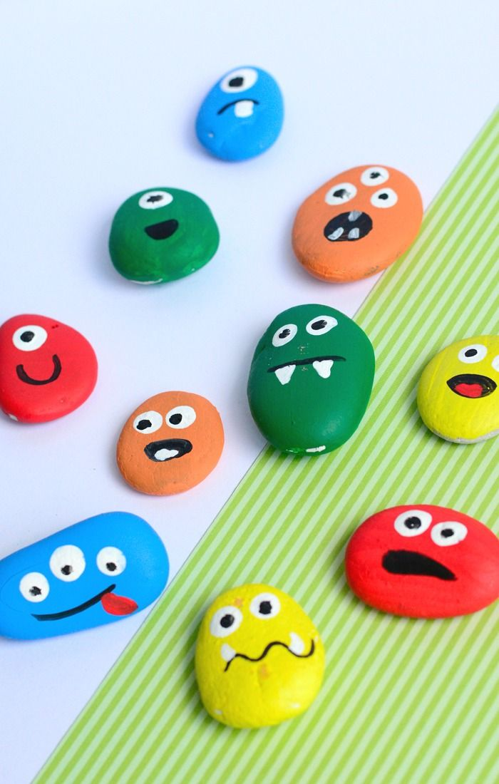 painted monster rocks halloween crafts for kids - Kids Painting Images