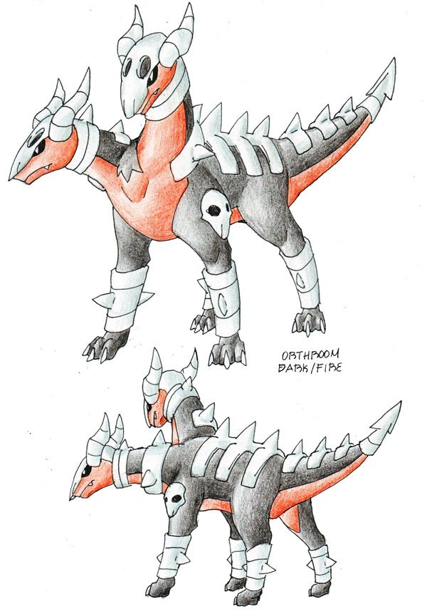 "This is my HOUNDOOM evolution -ORTHROOM (Orthrus-Doom) -Dark/Fire -Hellhound Pokemon -Evolves from HOUNDOOM with dusk stone -""In many legends, this pokemon is despicted as a guardian, a one that is..."