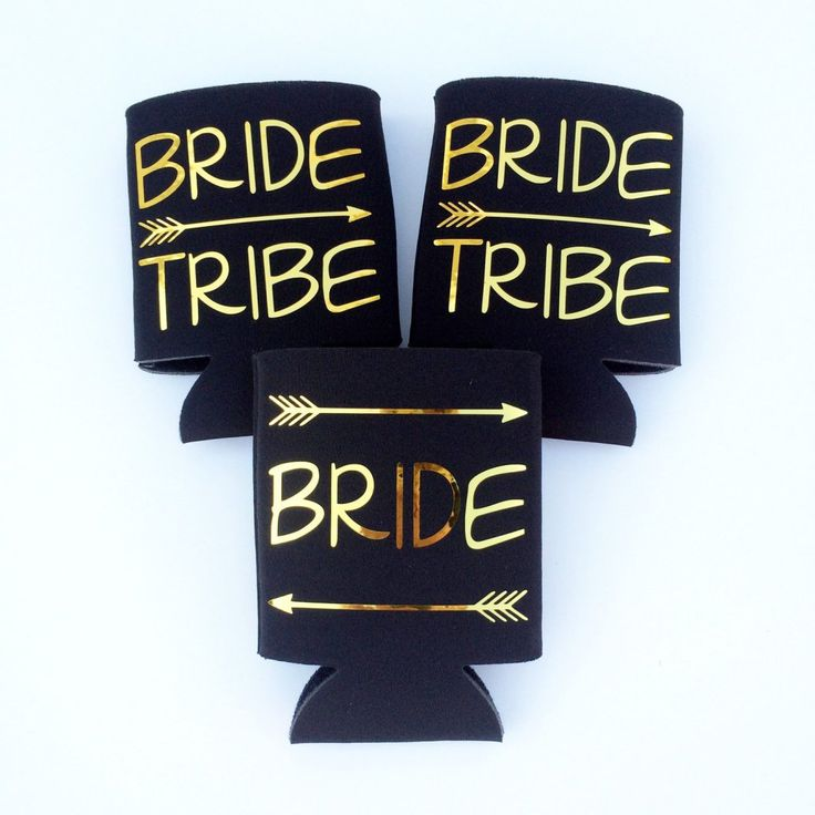 bride tribe beer koozies by TheCraftyEngineer   fun bachelorette party ideas   http://emmalinebride.com/planning/fun-bachelorette-party-ideas/
