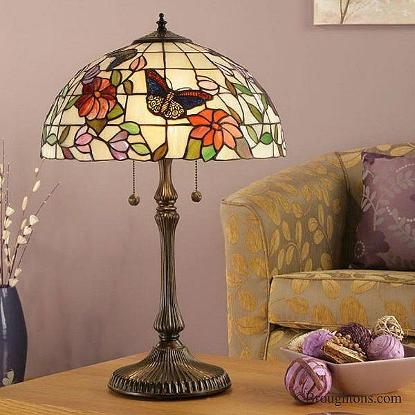 Interiors 1900 Butterfly Large Tiffany Table Lamp
