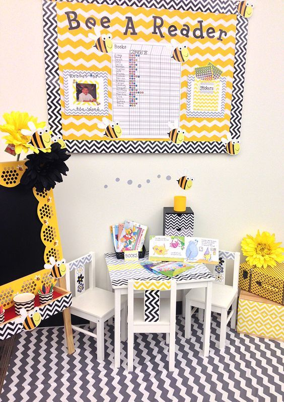 BEE a Reader Bulletin Board idea is cute!  Love the color scheme and design of this little nook for a bee themed classroom.