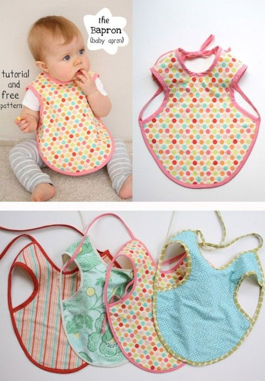 "The Bapron! aka the ""Baby Apron"" – This bib is really cool! It provides a ton of coverage in the front, much like an adult apron, and ties in back with bias tape!"