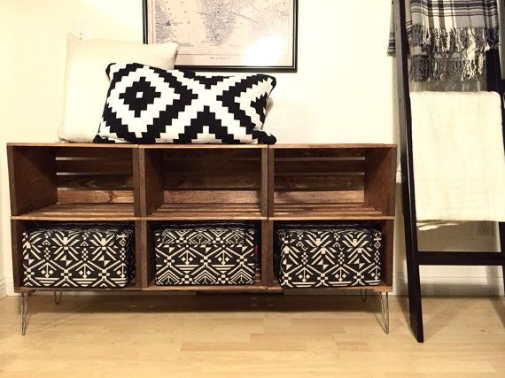 Handmade TV Stand Unit w/ Cubbies  Crate Style Design by TipsyOak