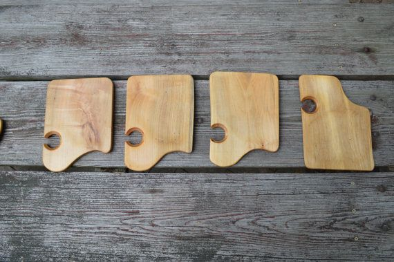Party plate holds your wineglass to free up your by BandyWoodworks