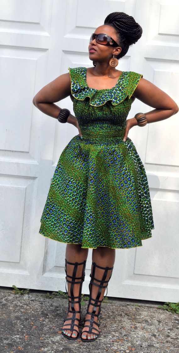 Balma Dress in green hues. by HouseofAfrika on Etsy