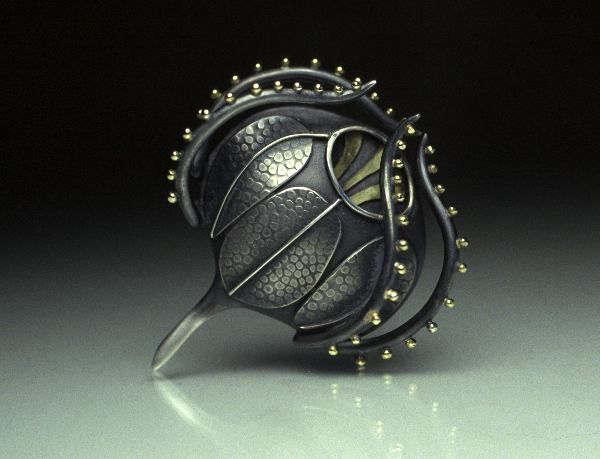 Plankton Art - Silver and Gold Brooch by Sarah Parker-Eaton