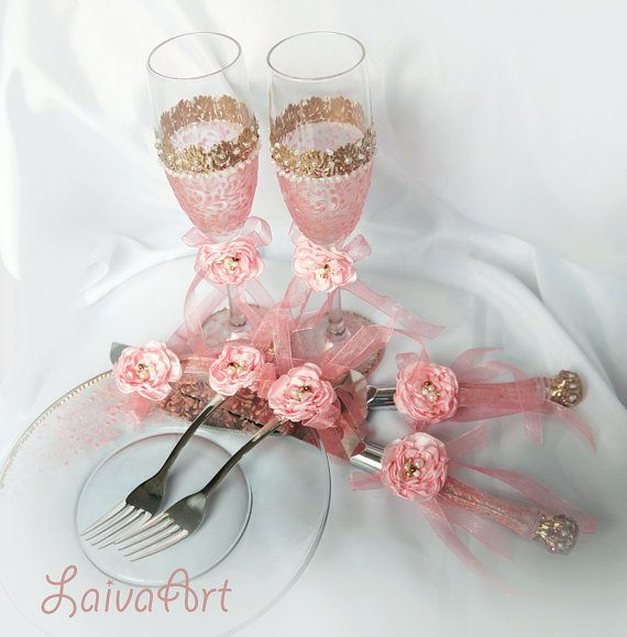 Wedding Cake Server Set Champagne Flutes Pink by LaivaArt on Etsy