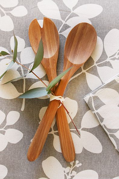 Bamboo salad servers with succulent grey tablecloth and napkins ww.dandi.com.au