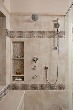 Whistling Way Master Bath Remodel contemporary bathroom porcelain tile on wall of shower, glass tile for accents and in niche.