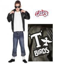 Chaqueta T-Birds de Grease con logo bordado para niños en varias tallas. Disfrázate del auténtico Danny Zuko (John Travolta) en la mitica película GREASE. El precio incluye sólo la chaqueta. Podrás encontrar gafas en la sección de Complementos.