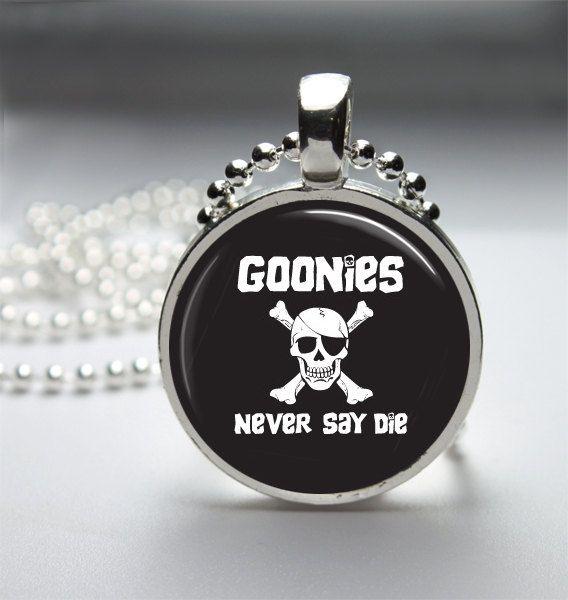 The goonies glass pendant goonies necklace by scrabbleandglass