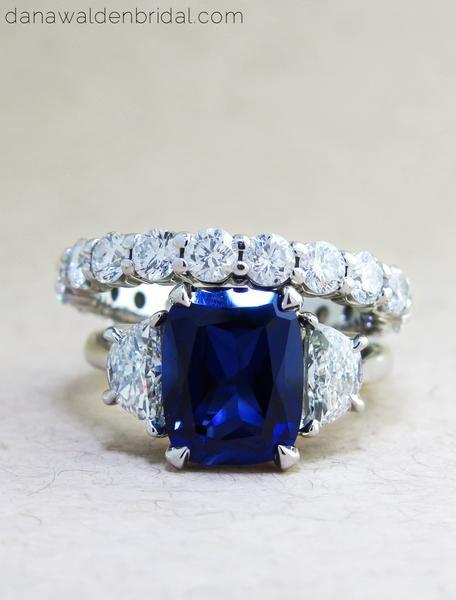 Blue sapphire & diamond engagement ring with diamond eternity band bridal set handmade in platinum - Alexandra & Constance