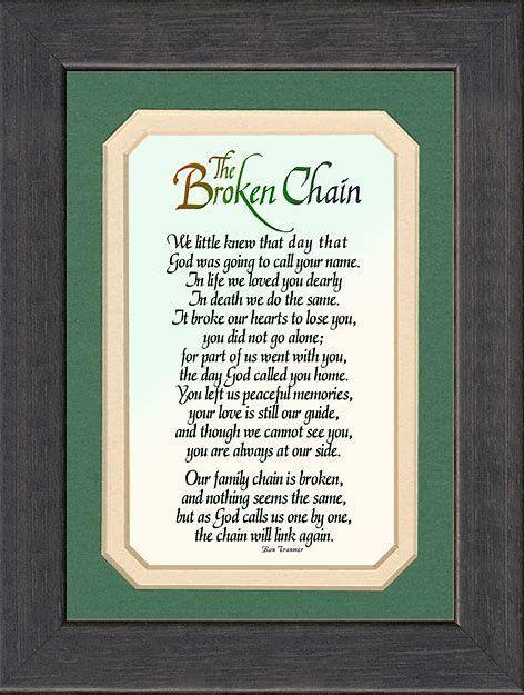 The Broken Chain Poem The Broken Chain Poem Crafts
