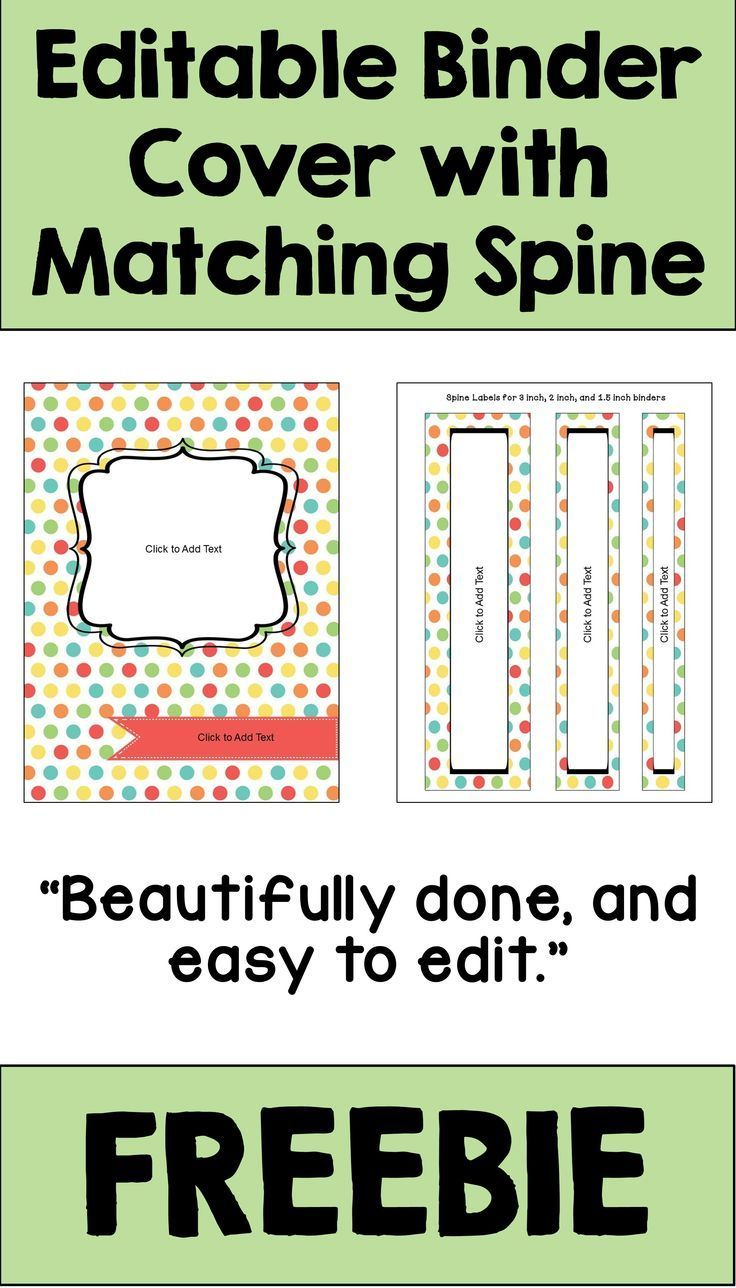 Editable Binder Cover And Spines In Pastel Colors Free Intended