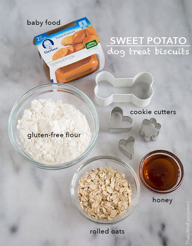 Sweet Potato Dog Treat Biscuits.   3.5 oz container sweet potato baby food,  3/4 cup + 1 Tbsp gluten-free flour,  1/4 cup rolled oats,  1 Tbsp honey,  1 large egg.