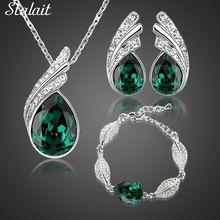 Velkoobchodů svatební šperky set rakouské Crystal módní list slza peří voda náhrdelník s přívěskem náušnice šperky sady (Čína (pevninská část))