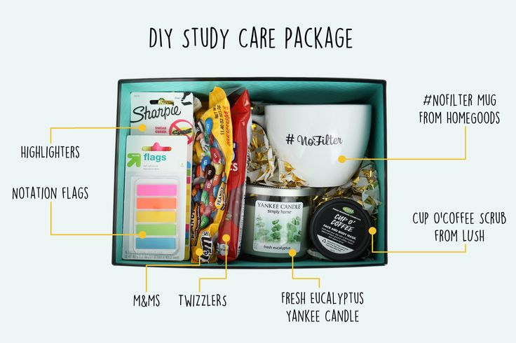 DIY Study Care Package for your student going into finals, or studying for exams like the LSATs, SATs, GREs, or the Bar!
