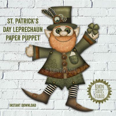 Leprechaun Clipart Paper Puppet by Robin Davis Studio