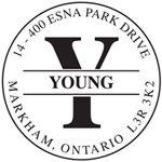 """Self-Inking Stamp 1-11/16"""" round Monogram Letter Y."""