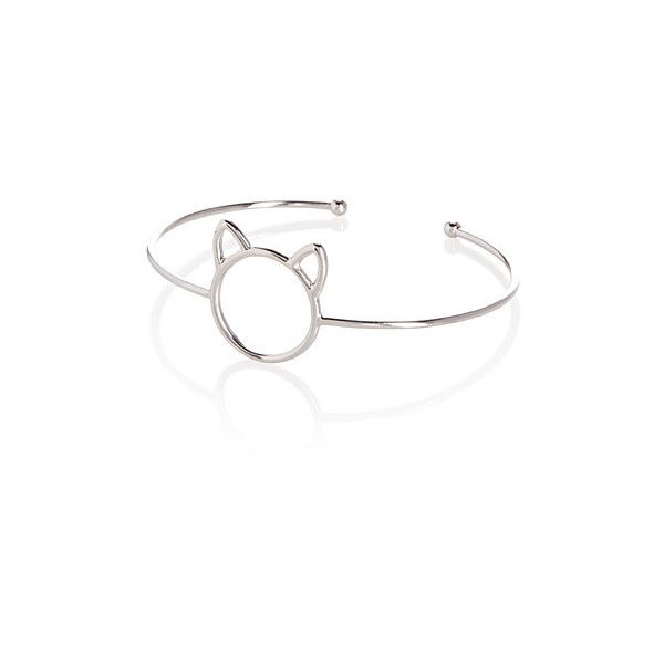 Simons Cat silhouette thin cuff bracelet ($8.90) ❤ liked on Polyvore featuring jewelry, bracelets, cuff bangle, hinged cuff bracelet, polish jewelry, cat bangle and simon jewelry