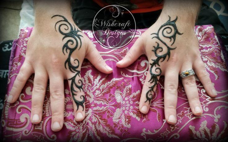 Polynesian tribal style henna for men - hands - menna - art by Wishcraft Designs