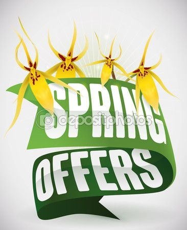 Green Ribbons and Yellow Orchids for Spring Offers
