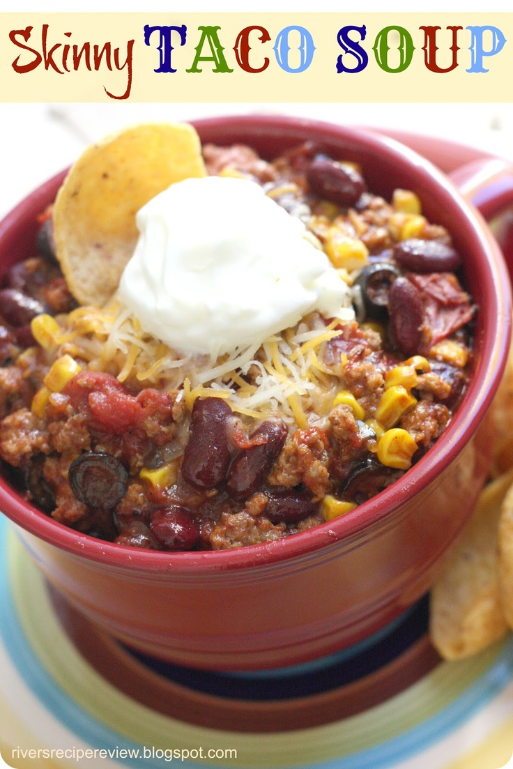 TACO SOUP 1# gr lean turkey meat 2 cans or 1 big can diced tomatoes (fire roasted) 1-2 pkg low sodium taco seasoning 1 can tomato soup 1 can dark kidney beans 3 small cans diced olives 1 can corn Brown ground turkey meat. Add all cans into pot. Bring to boil & then reduce heat to low. Let simmer for about 20 minutes. Serves 8.5