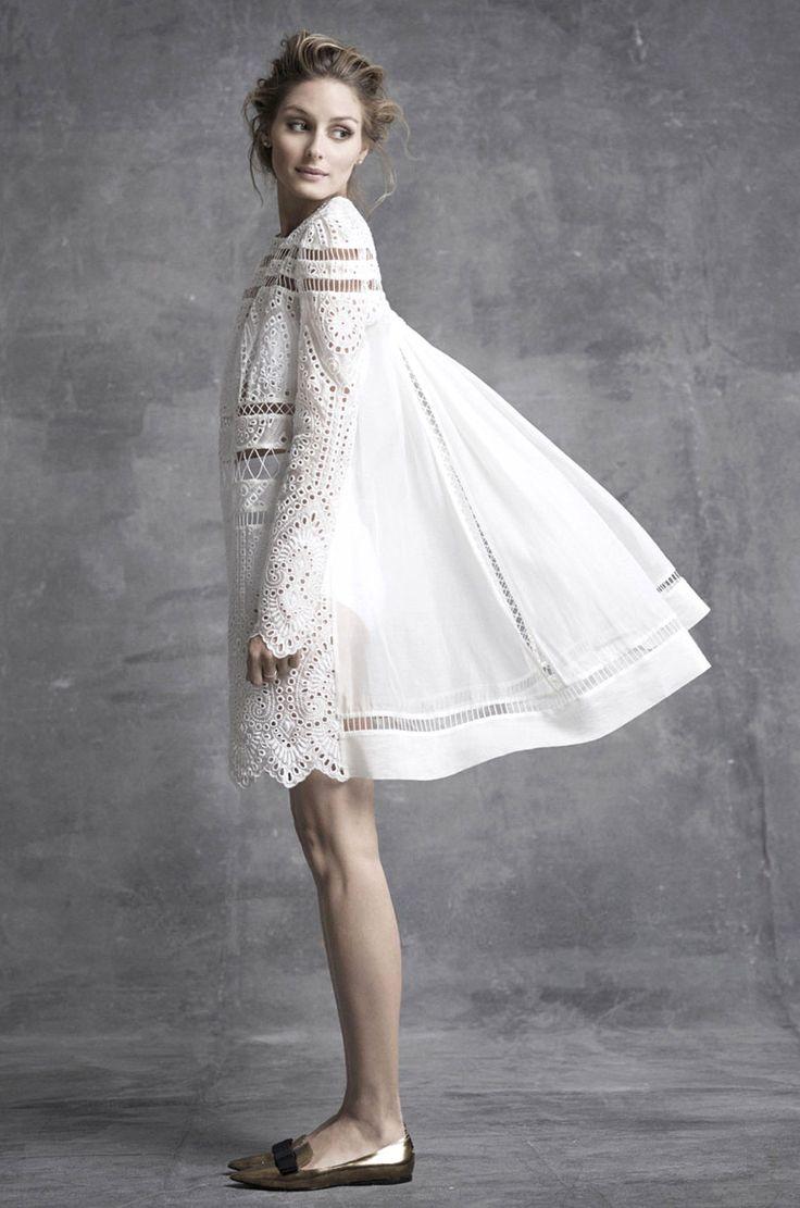 Olivia Palermo in a white eyelet Zimmermann dress for Harper's Bazaar Australia