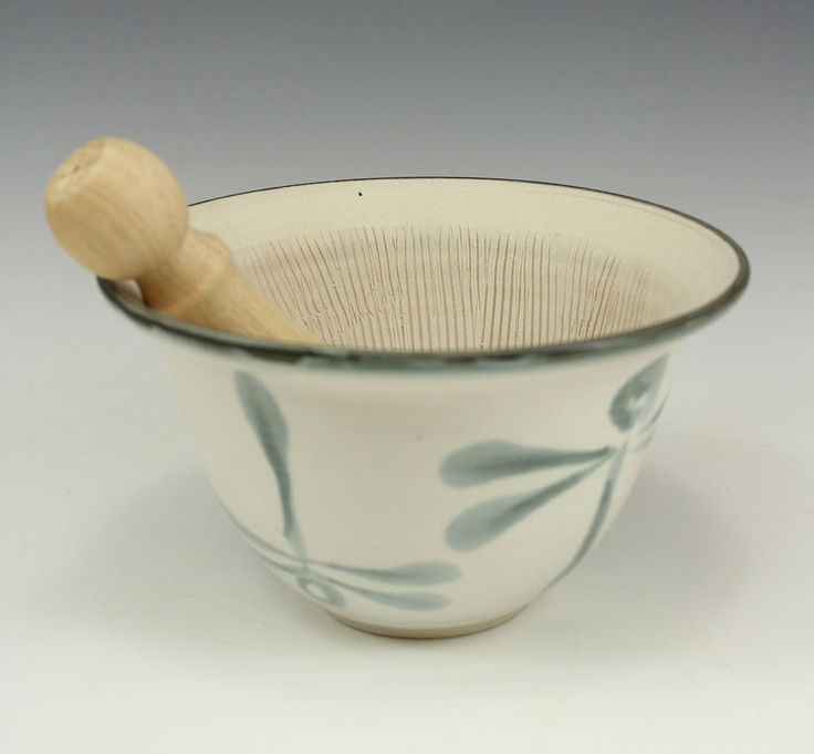 Suribachi with stylized dragonfly brushwork