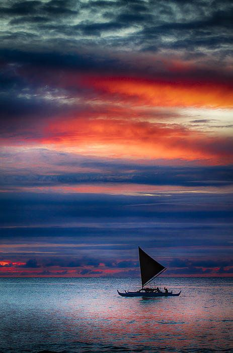 Canoe sunset, Hawaii  (by Mike Neal on fineartamerica)