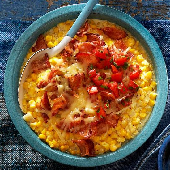 Loaded Creamed Corn with Tomato and Bacon - Creamed corn is a staple ...