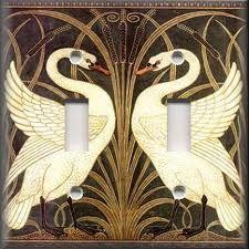 Light Switch Plate Cover Art Nouveau Swans