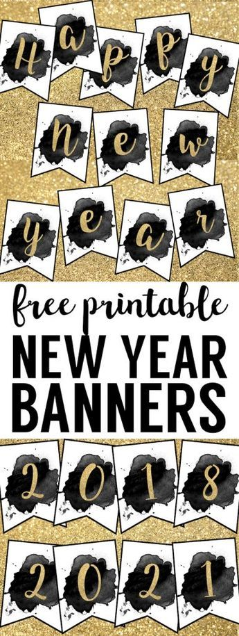Free Printable Happy New Year Banner. 2018 Banner flags as well as 2019, 2020, 2021 and more! Gold and black happy new year banner for your New Year party. #papertraildesign #NewYearParty #2018 #2019 #HappyNewYear