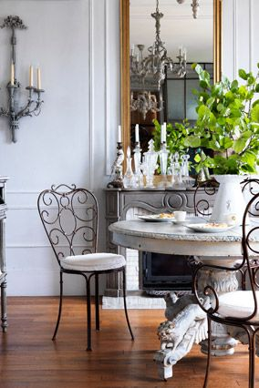 "How to Get French Style at Home - Oprah.com. Bring the Outside In ""Café chairs or wooden tables look just as great in a kitchen as they do on the patio,"" says Swift. The overall feeling—as with these art nouveau wrought-iron dining chairs—is unexpected and brings a bit of the Parisian café indoors."