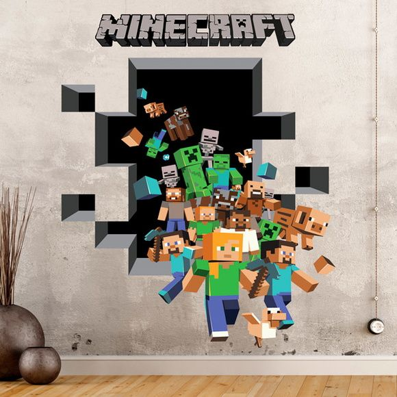 Adesivo Minecraft 3D grande