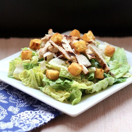 """Greek"" Chicken Caesar Salad with Polenta Croutons - a lightened up version of your favorite restaurant salad with gluten free crunchy croutons 
