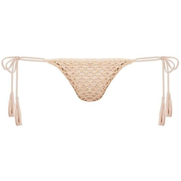 DASH Acacia Polihale Crochet Bottom ($120) ❤ liked on Polyvore featuring swimwear, bikinis, bikini bottoms, crochet swimwear, petite bikini, nylon swimwear, side tie bikini bottom and bikini bottom swimwear