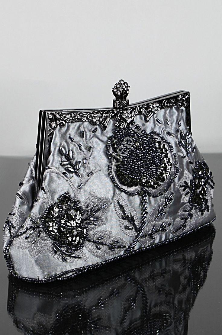 Srebrna torebka w stylu retro | torebki barok hand made, wiktoriański styl - RĘKODZIEŁO