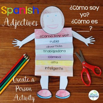 Spanish Descriptive Adjectives Create a Person Activity